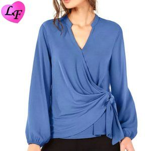 ALFANI Side Tie Crossover Top Small Blue $60 Tags